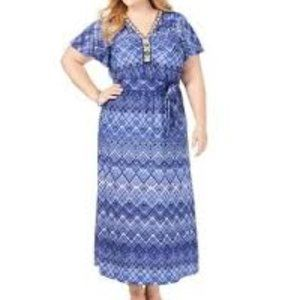 NY Collection Beaded Self Tie Printed Maxi